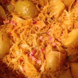 Sauerkraut with Potatoes and Double-Smoked Bacon