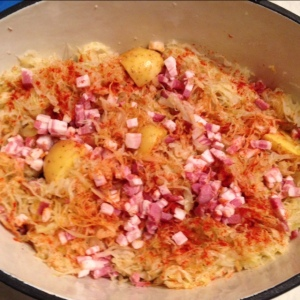 Sauerkraut with Potatoes and Double-Smoked Bacon - Ready to bake!