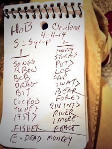 Set List - RRE @ CLE HOB 4/11/14