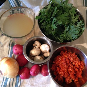 Bratwurst and Kale Soup with Electro Swing Tune-age - Ingredients