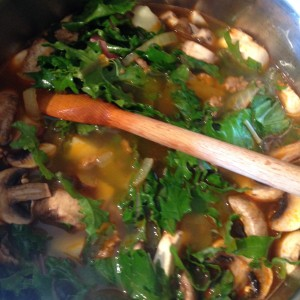 Bratwurst and Kale Soup with Electro Swing Tune-age - All Ingredients in the Pot