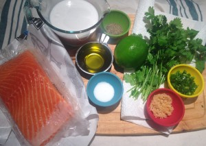 Jalapeño-Garlic-Lime Salmon with Coconut Saffron Sauce - Ingredients