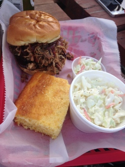 Eli's BBQ - PP, jalapeño corn bread, and slaw