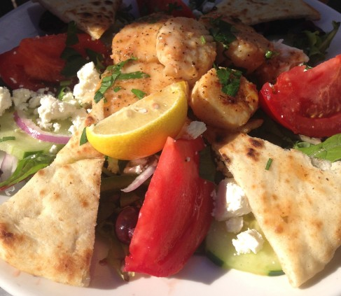 Anglins Beach Cafe - Greek Salad with Scallops