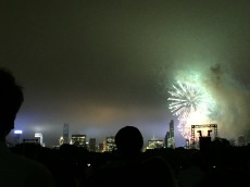 NYC Skyline and Fireworks after a Beautiful show put on by the NY Phil :)